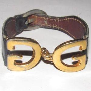 Vintage Gucci Gold, 'G' Logo Buckle Bracelet
